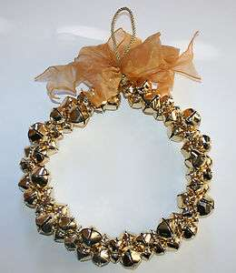 New Pottery Barn GOLD JINGLE BELL WREATH Christmas Holiday