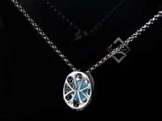 LeVian 18K WG Black White Diamonds Turquoise Necklace