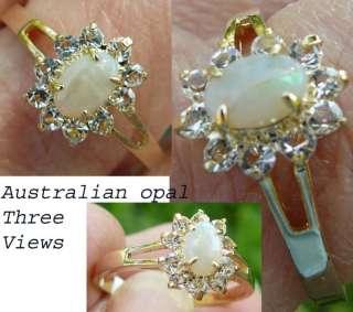 Australian Opal CZ(simulated stone) Ring HGE Gold Plate