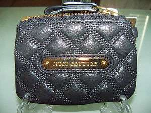 NWT JUICY COUTURE Black Shimmer Credit Card Coin Keys Purse Zipper