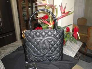 AUTH CHANEL BLACK CAVIAR MEDALLION /GOLD HDW TOTE BN WITH TAGS