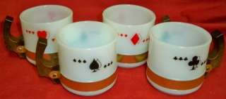 Ware Milk White Glass Mugs Cups Wood Handles Card Suits Red Black EUC