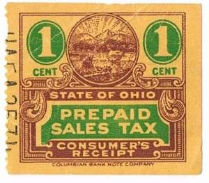 State Of Ohio Prepaid Sales Tax Stamp 1 Cent