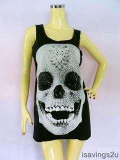 DIAMOND SKULL Tank Top, Punk GOTH Pop Art BLACK Singlet, T shirt Mini