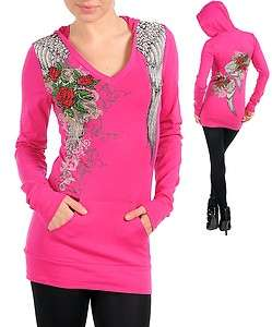 Scrolls Roses Wings Stones Tattoo Hoodie Hot Pink T Shirt Ed Hardy