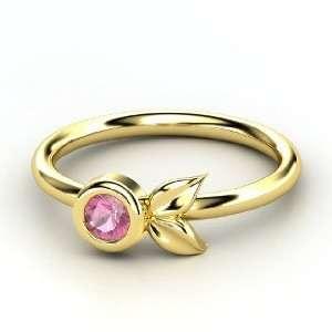Boutonniere Ring, Round Pink Tourmaline 14K Yellow Gold