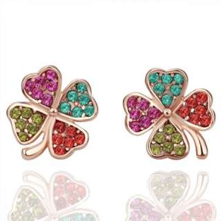 18K Rose Gold Swarovski Crystal GP Clover Earring E059