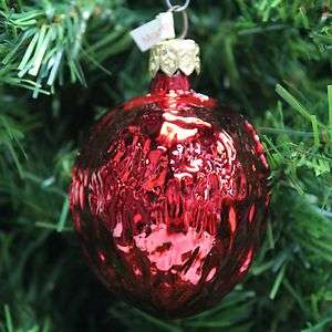 BLOWN & PAINTED POLISH MERCURY GLASS WALNUT CHRISTMAS ORNAMENT