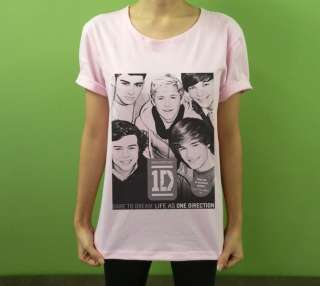 Neckline T Shirt 1D ONE DIRECTION Boy Band Fan Printed Size M