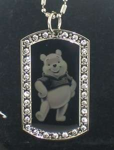 WINNIE THE POOH CZ Dog Tag Pendant Necklace