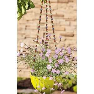 Yellow and Brown Beaded Flower Pot Hanger Patio, Lawn