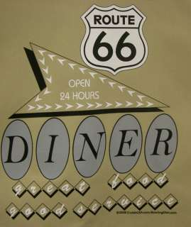 50s Retro style Button up Bowling shirt CAMEL /TAUPE w/Route 66 Diner