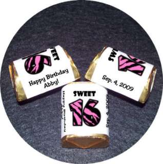 SWEET 16 Birthday party FAVORS candy wrappers Zebra