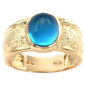 14K Yellow Gold Textured Oval Cabochon Gemstone Ring  Swiss Blue Topaz