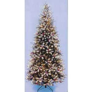 com 6.5 Flocked Slim Dunhill Fir Pre Lit Christmas Tree Clear Light