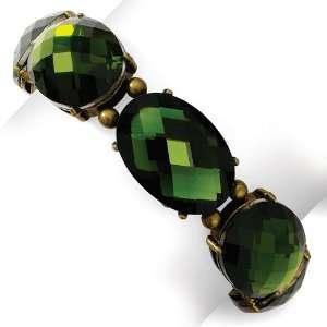 Burnish Brass tone Faceted Olive Crystal Stretch Bracelet
