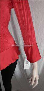 NEW SUNNY TAYLOR RED RUFFLE FRONT CASUAL BLOUSE/TOP PL