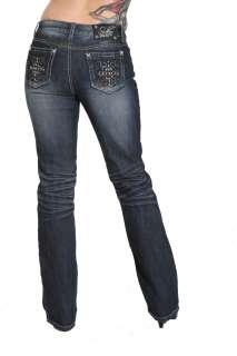 Suko Jeans Studded Pocket Boot Cut Ladies Rocker Denim Jeans