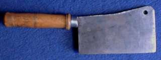 ANTIQUE CLEAVER KNIFE STEEL ORIGINAL WOOD HANDLE c1900 ITALY