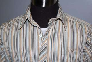 Sean John LONG SLEEVE BROWN BLUE SHIRT MENS MEDIUM NWOT