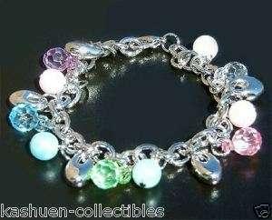 FUNKY Bubble Gum w Swarovski Pearl Pastel charm drop Rhodium Plated