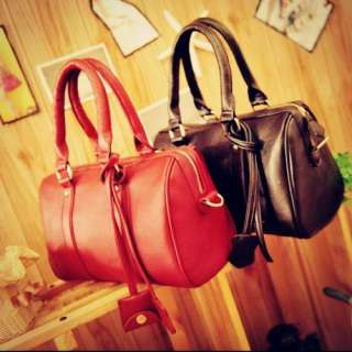 Retro Style PU Leather Shoulder Bag Red Satchel Clutch Handbag School