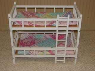 White Wooden Bunk Beds for American Girl Doll /18 inch dolls