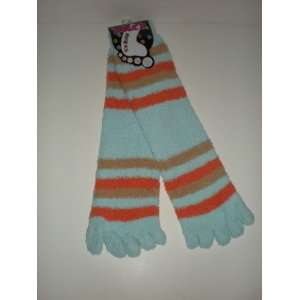 Fuzzy Striped Long Toe Socks (Light Blue,Brown, Orange