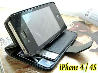 Leather Book Flip ID Card Case Folio Stand Cover for iPhone 4 4s SW