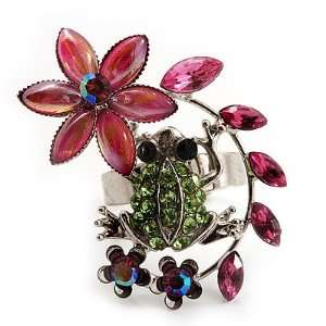 Funky Green Crystal Frog With Flowers Ring (Silver Metal