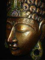 Golden Buddha Mask Bali Hand Carved Wood Balinese wall ART sculpture