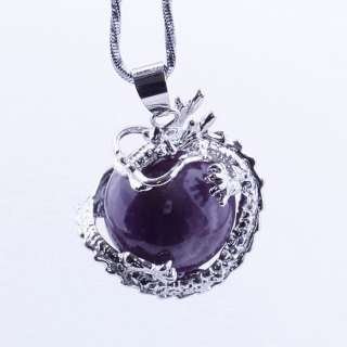 Natural Amethyst Crystal Gemstone Gem Dragon Bead Pendant for Necklace