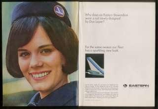 1965 Eastern Airlines stewardess photo vintage print ad