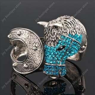 blue swarovski crystal Horse steed head bracelets cuff