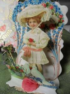 Victorian Valentine Cards Fold Out Pop Up Embossed