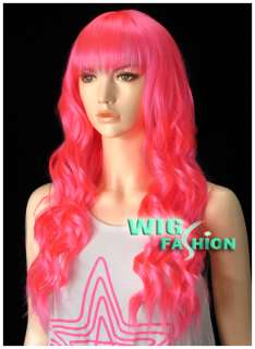 Anime Cosplay Wig Long Curly Hot Pink Hair Wigs LH32