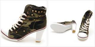 Green Camo Denim Stud Ankle High Heel Sneakers US 5~8