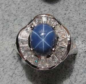 VINTAGE LINDE LINDY CF BLUE STAR SAPPHIRE CREATED RING