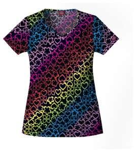 Dickies Shaped V Neck Scrub Top in Over the Rainbow