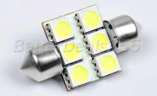 32mm 5050 6 LED Festoon Dome Car Light Bulb White New