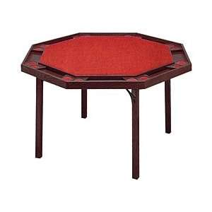 Octagon Poker Table with Mahogany Finish & Red Vinyl Top