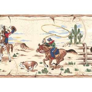 Wallpaper Border 1950s Vintage Look Cowboys on Cream: