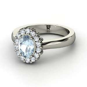 Princess Kate Ring, Oval Aquamarine Palladium Ring with Diamond