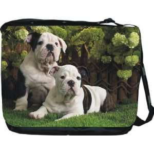 Rikki KnightTM English Bulldogs Dog Design Messenger Bag   Book