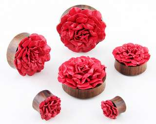 Double Flare Organic Sono Wood Leather Rose Flower ear Plugs Gauges