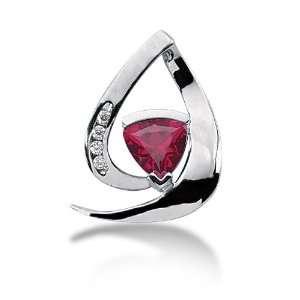 Ct Diamond Ruby Pendant Triangle Channel Fashion Chain 14k White Gold