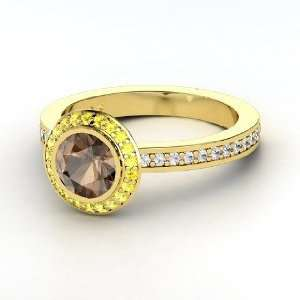 Roxanne Ring, Round Smoky Quartz 14K Yellow Gold Ring with