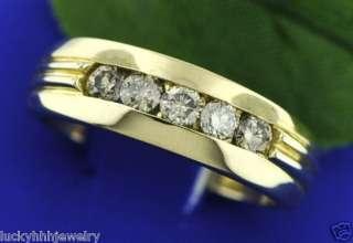 75 ct MENS CHAMPAGNE DIAMOND RING YELLOW GOLD 14K