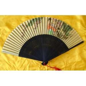 Chinese Painting Silk Bamboo Art Fan Beauty Flower