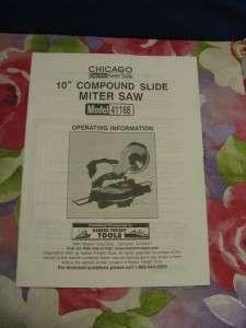 CHICAGO 10 Compound Slide Miter Saw 41168 Owner Manual
